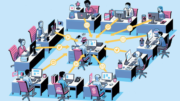 Illustration by Lucas Varela of how PR has invaded the newsroom