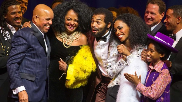 Motown founder Berry Gordy and singer Diana Ross with the actors who play them in the musical, Brandon Victor Dixon and Valisia LeKae, on its opening night on Broadway