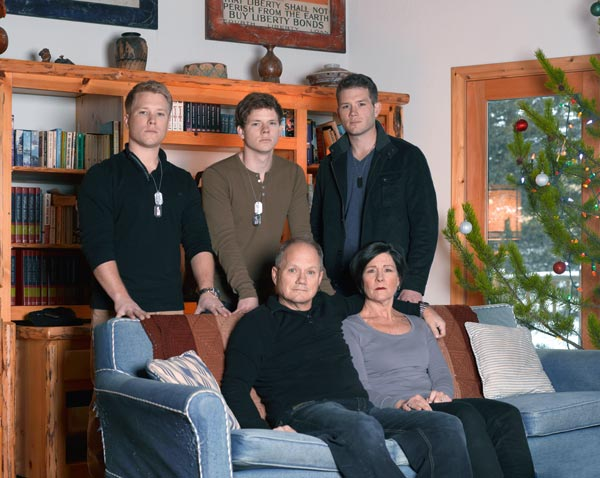 Mary and Rick Todd, at their home in Marion, Montana, with Shane's brothers (from left), Chet, Dylan and John