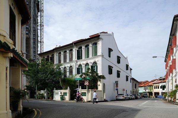 The colonial-era corner house in Singapore where Shane Todd lived on the first floor and where his body was found