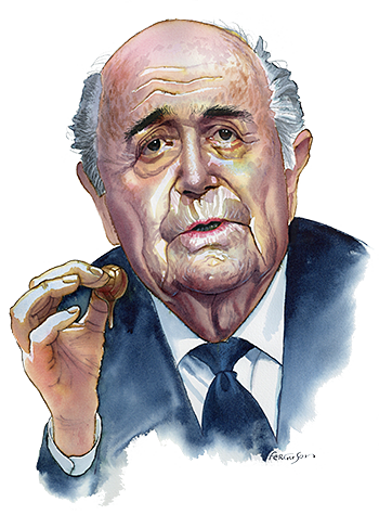 Illustration by James Ferguson of Sepp Blatter
