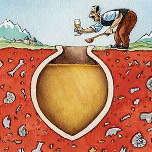 Illustration of a man getting wine from an underground jar