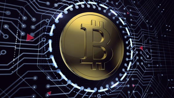 Golden coin with Bitcoin symbol in electronic cyberspace. 3D rendered image. Dreamstime