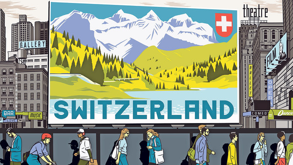 An illustration by Bill Butcher depicting a travel advertisement of Switzerland