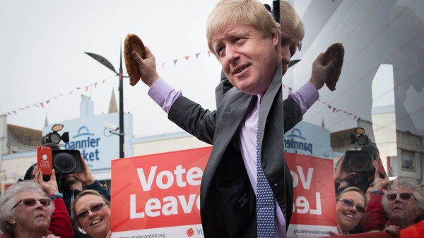 NOTE ALTERNATE CROP Former Mayor of London Boris Johnson holds a Cornish pasty as he boards the Vote Leave campaign bus in Truro, Cornwall, ahead of its inaugural journey which will criss-cross the country over the coming weeks to take the Brexit message to all corners of the UK before the June 23 referendum. PRESS ASSOCIATION Photo. Picture date: Wednesday May 11, 2016. See PA story POLITICS EU. Photo credit should read: Stefan Rousseau/PA Wire