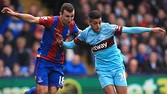 "Crystal Palace's James McArthur (left) battles for the ball with West Ham United's Manuel Lanzini during the Barclays Premier League match at Selhurst Park, London. PRESS ASSOCIATION Photo. Picture date: Saturday October 17, 2015. See PA story SOCCER Palace. Photo credit should read: John Walton/PA Wire. RESTRICTIONS: EDITORIAL USE ONLY No use with unauthorised audio, video, data, fixture lists, club/league logos or ""live"" services. Online in-match use limited to 45 images, no video emulation. No use in betting, games or single club/league/player publications."