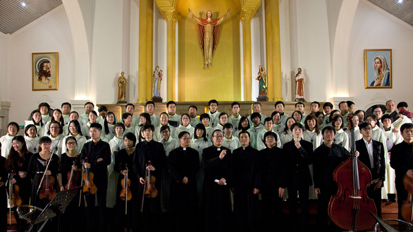 Chinese Catholics in a Christmas concert at the St Peter's Catholic church in Shanghai