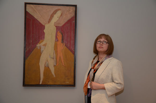 Farida Zaletilo pictured with Rothko's 'Mother and Child'