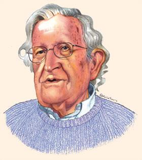 Illustration by James Ferguson of Noam Chomsky