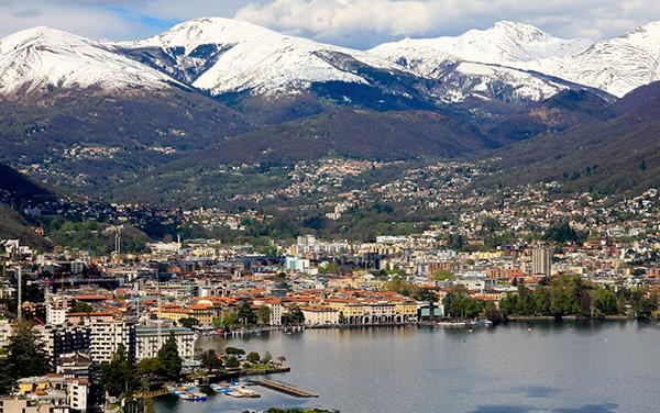 View of Lake Lugano in Ticino, Switzerland
