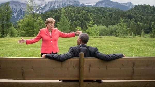 German chancellor Angela Merkel and US president Barack Obama at the Alpine meeting